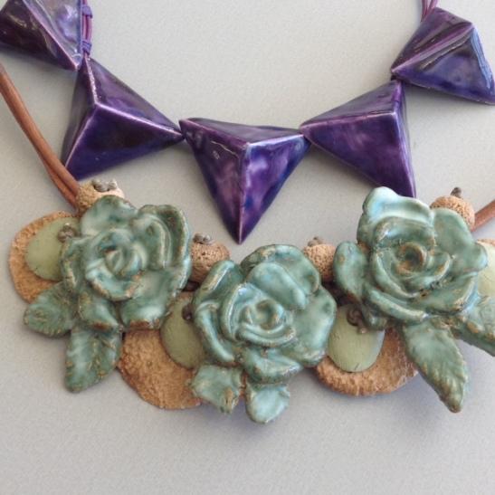 Triangles violet et fleurs vert romarin Printemps 2015